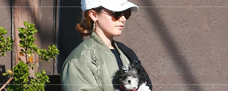 Out with her dogs in Los Feliz